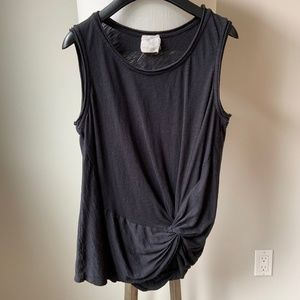 Anthropologie Black Knotted Tank